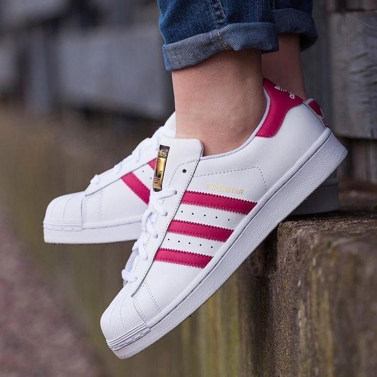 Tenis adidas Superstar Blancos/rosa # 4.5 Mx Original