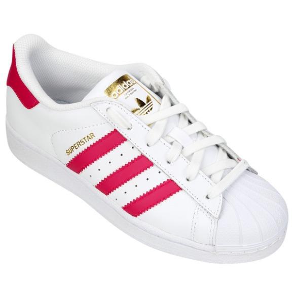 0bbbde0631 Tenis adidas Superstar Branco Com Rosa - Frete Grátis - R  200