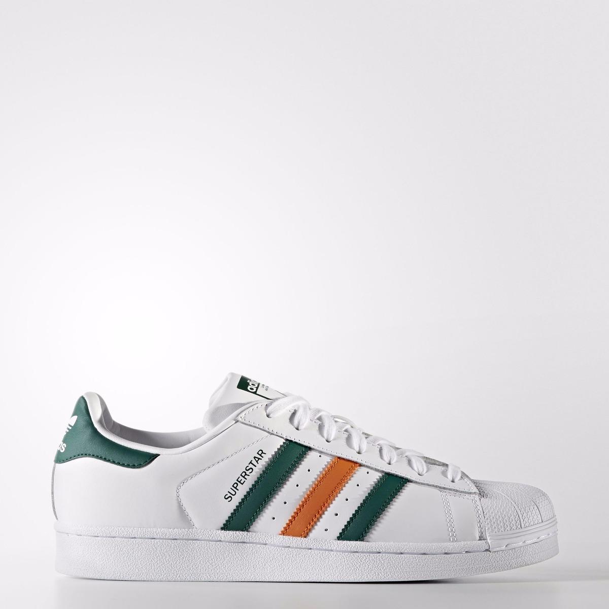 Tenis adidas Superstar Caballero Verde-naranja