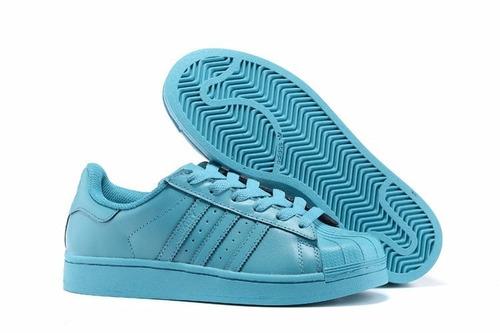 077b4f24fb Tenis adidas Superstar Concha Azul Claro Original-dama -   1