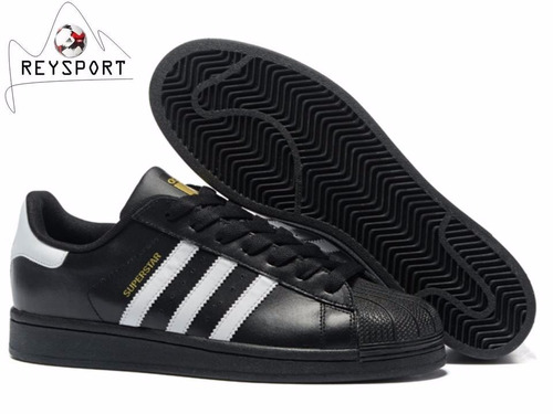 tenis adidas superstar fundation black b27140 promo hombre