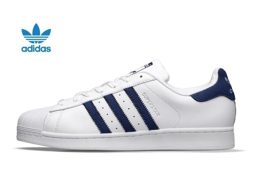 bc9add989a388 tenis adidas superstar retro piel blanca azul  28.5. Cargando zoom.