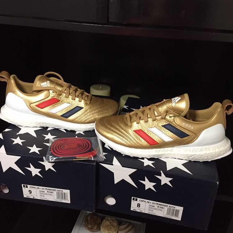 new style b57df 787e9 tenis adidas x kith copa 18 ultra boost golden goal original