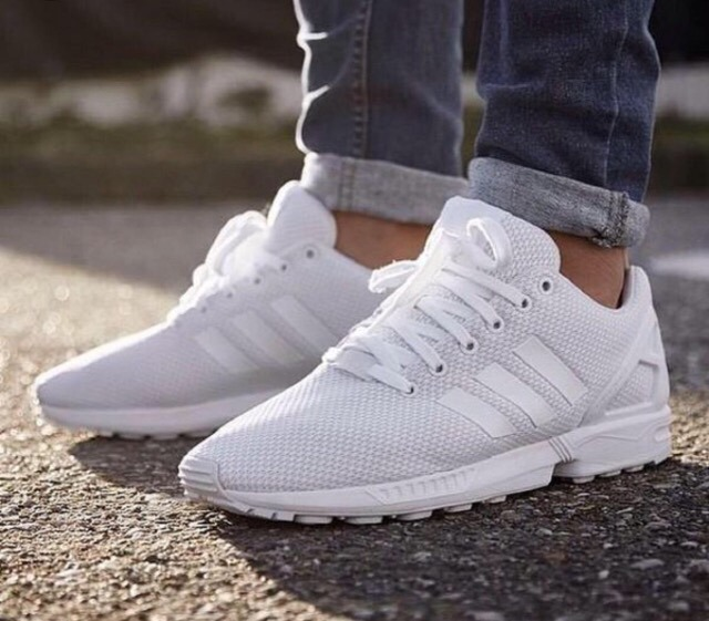 the best attitude 957c4 65dc5 Tenis adidas Zx Flux !! Triple Blanco !! (#9 Mex) Caja Origi