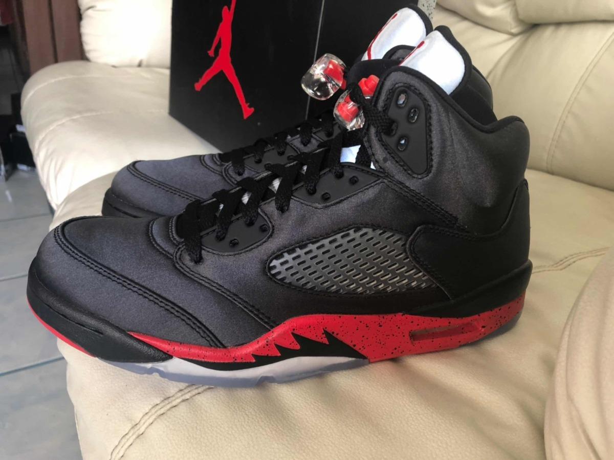 separation shoes bed16 6c9fe Tenis Air Jordan Retro 5 Satin Black Red Del 28.5mx 10.5us