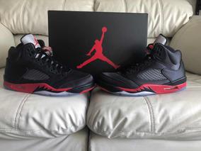 7dcfa187e6b2b8 Tenis Air Jordan Retro 5 Satin Black Red Del 27.5mx 9.5us