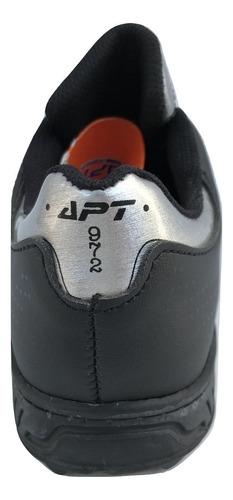 tenis apt 0973 casual deportivo urbano para niño negro plata