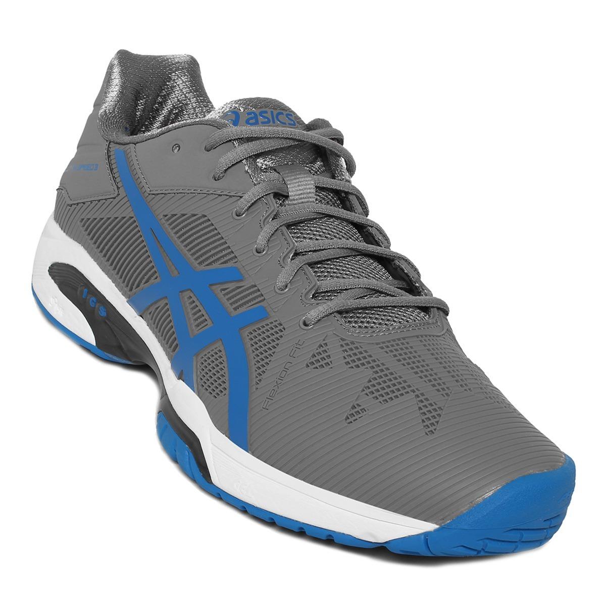 43d1eb462155c tenis asics gel-solution speed 3 - gris y azul. Cargando zoom.