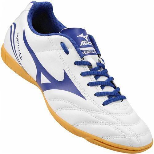 Tenis Branco Azul Mizuno Morelia Neo Club In Futsal Promoção - R ... 47d6e5b2af