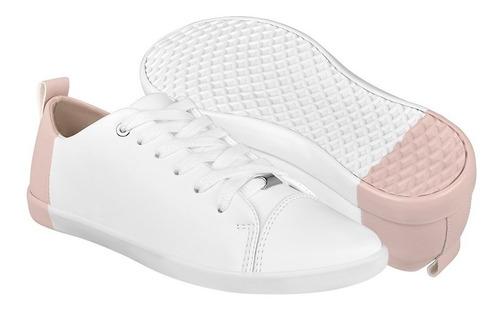 tenis capa de ozono mujer simipiel blanco con rosa 372911-2