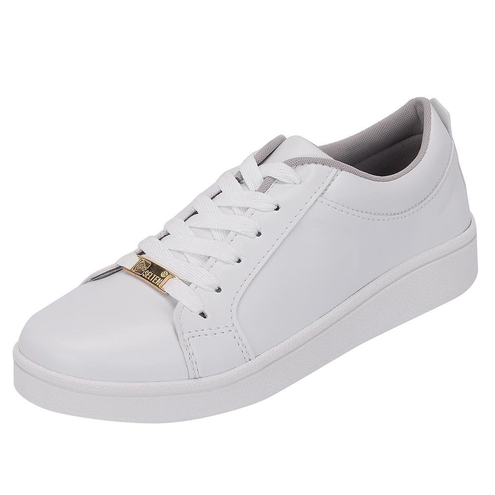 774f85e86 tenis casual branco feminino liso confort sapato selten 403. Carregando  zoom.