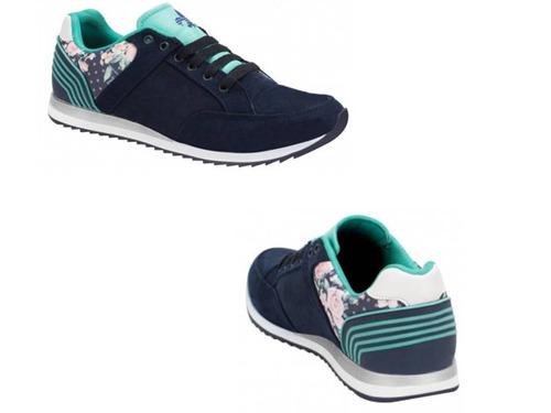 tenis casual con cuña urban shoes 8019 color azul marino