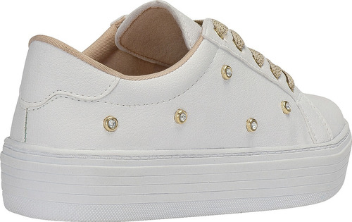 tenis casual feminino sapato sapatenis pedrarias branco