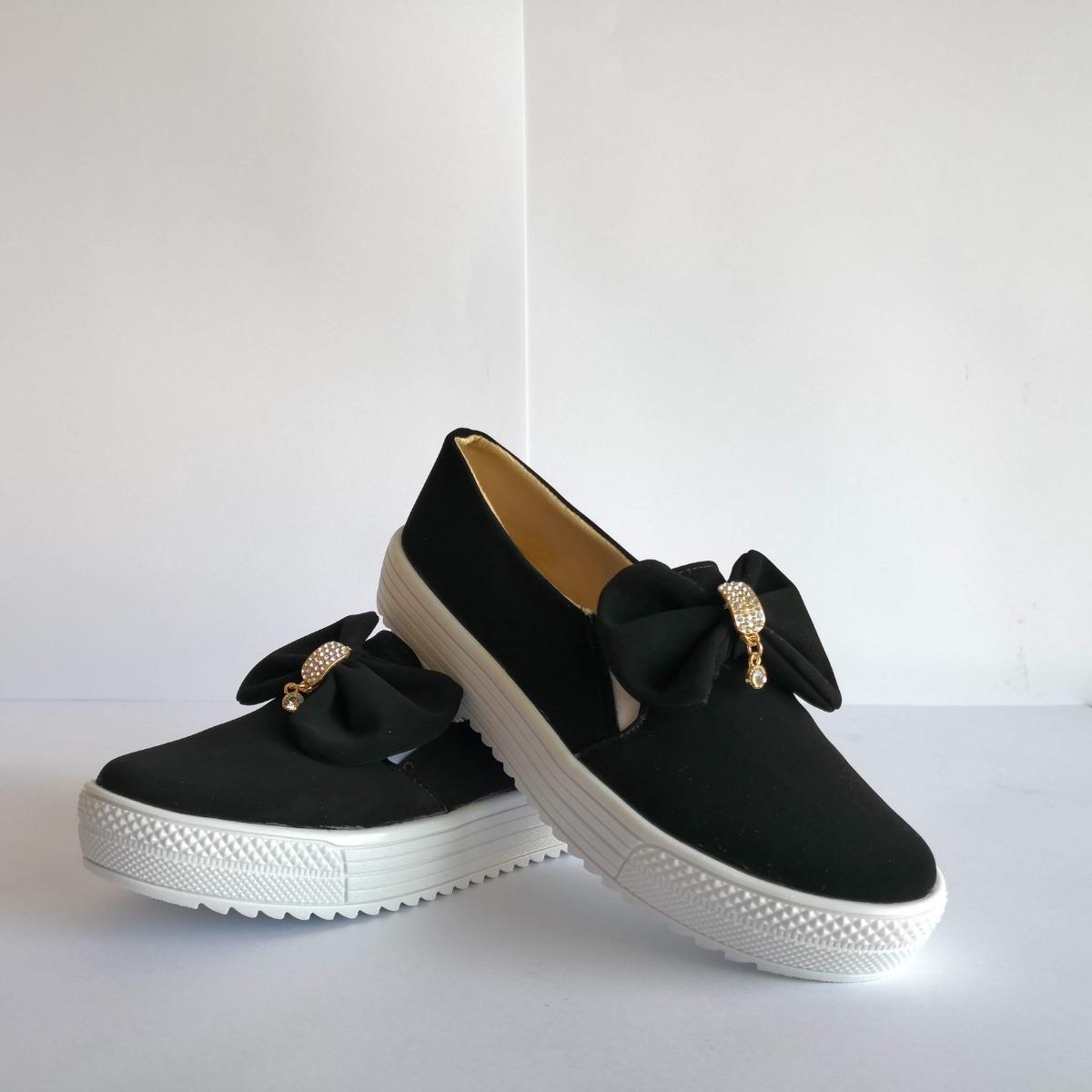 0893a34cbc6 Zapato Tenis Casual Mujer Moño Negro -   399.00 en Mercado Libre