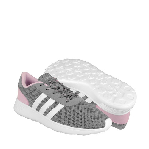 tenis casuales adidas para mujer textil gris con rosa aw3832
