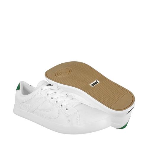 tenis casuales panam unisex simipiel blanco con verde 010074