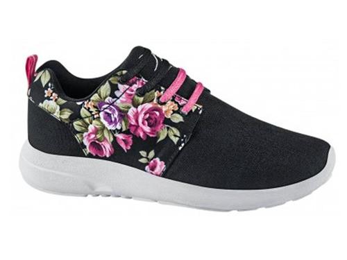 tenis casuales po box 4022 id 160016 negro con flores dama