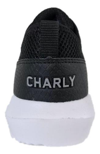 tenis charly mujer 1029144 negro textil deportivo running