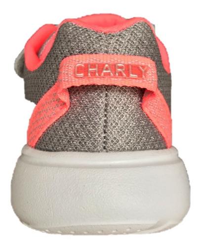 tenis charly niña 1069329 gris coral deportivo infantil