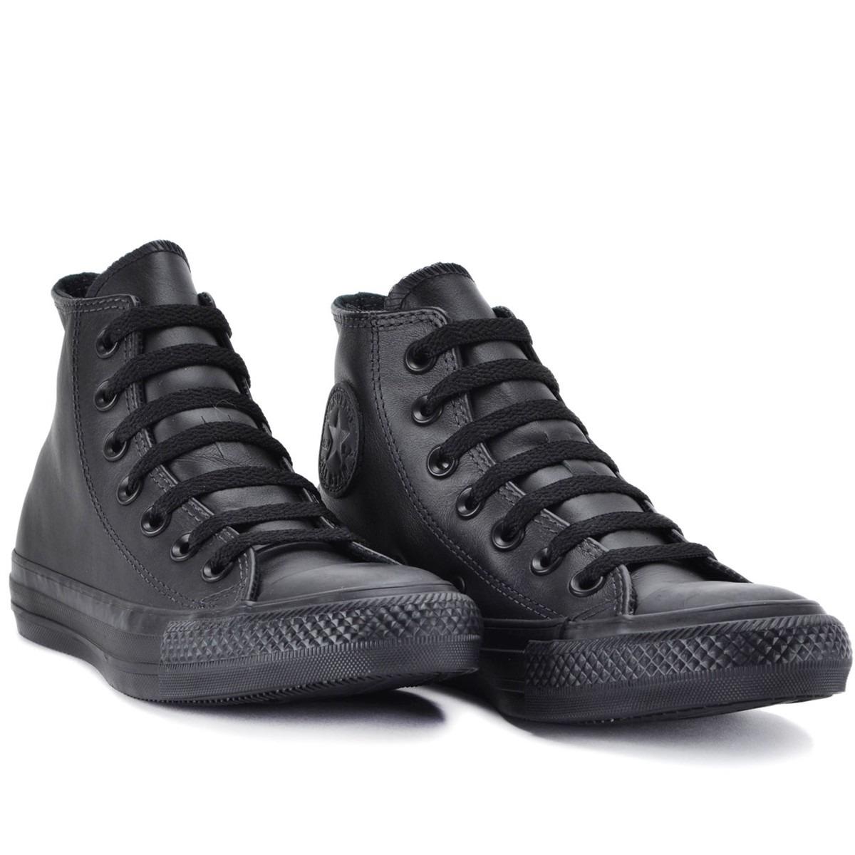 bf25ee68e39 tenis converse all star monochrome leather hi preto couro. Carregando zoom.