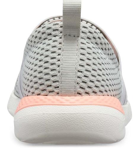 tenis dama literide mesh slip on perla/melón