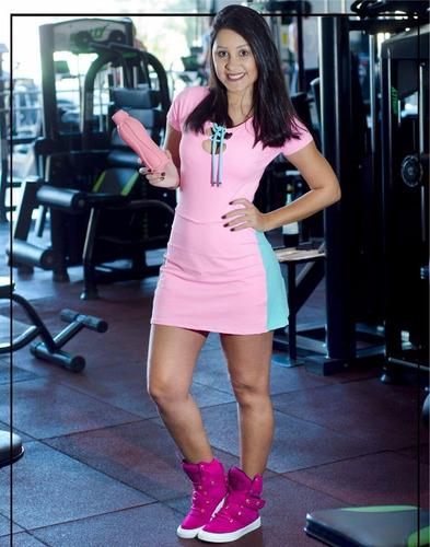 tenis de academia bota treino feminina couro fitness sneaker