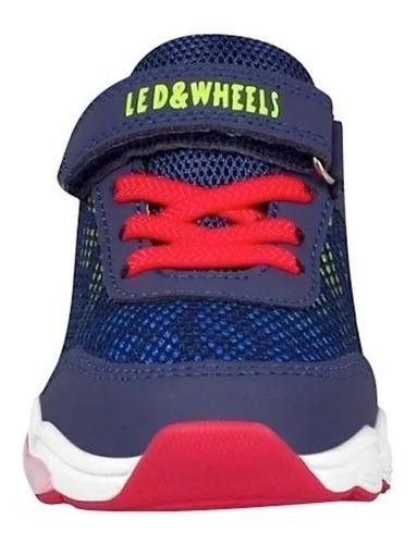 tenis de niño con luces, marino rojo b804 led and wheels