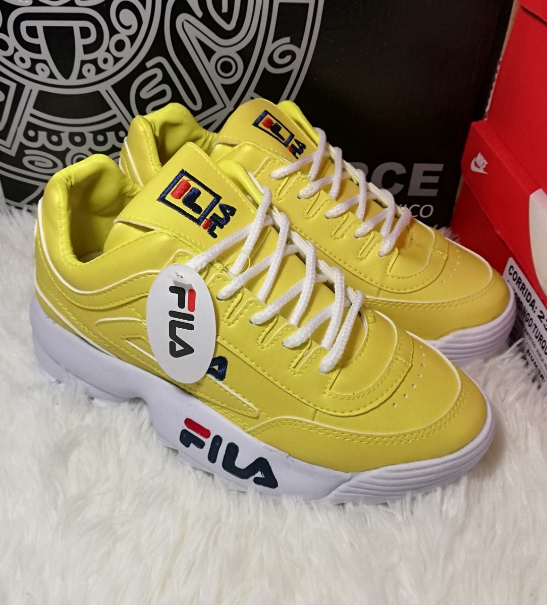 descuento en venta novísimo selección diseñador de moda Tenis Estilo Fila Clon Deportivo Amarillo