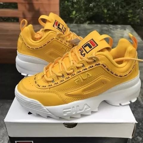 tenis fila  disruptor li premium repeat canary yellow