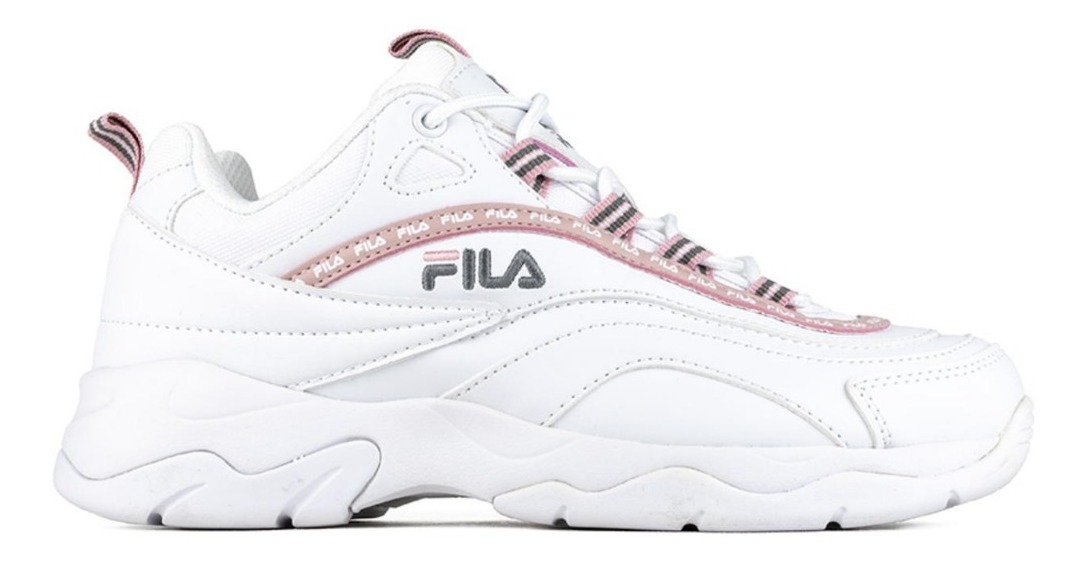Tenis Fila Ray Repeat Blanco Rosa Mujer Original Nuevo Meses