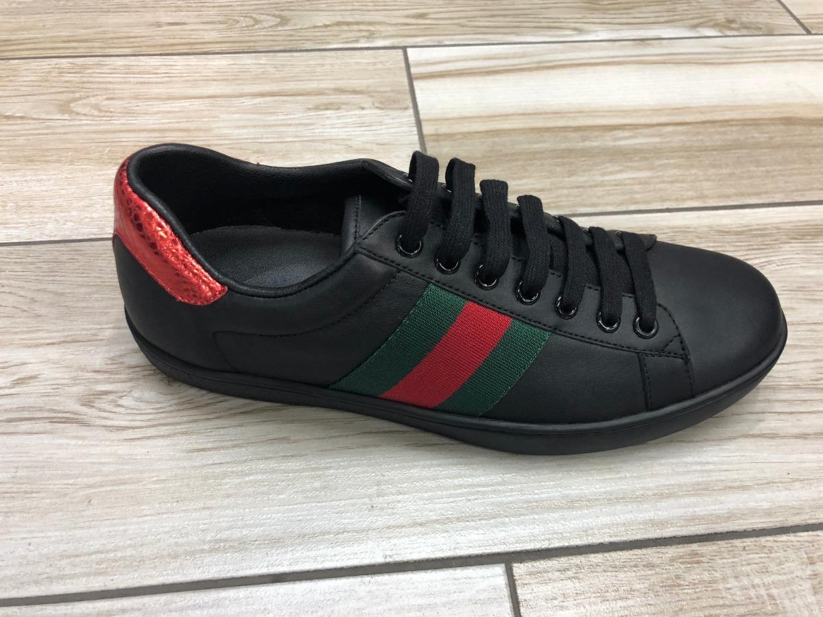 96b0100788 Tenis Gucci Caballero De Piel Negros Franja Roja Verde! - $ 4,499.00 ...