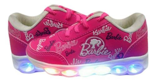 tenis infantil bebê barbie princesa luzes 6 leds