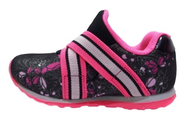2ccccf1da54 Tenis Infantil Menina Kidy Free Preto Pink Rosa 0306 - R  94