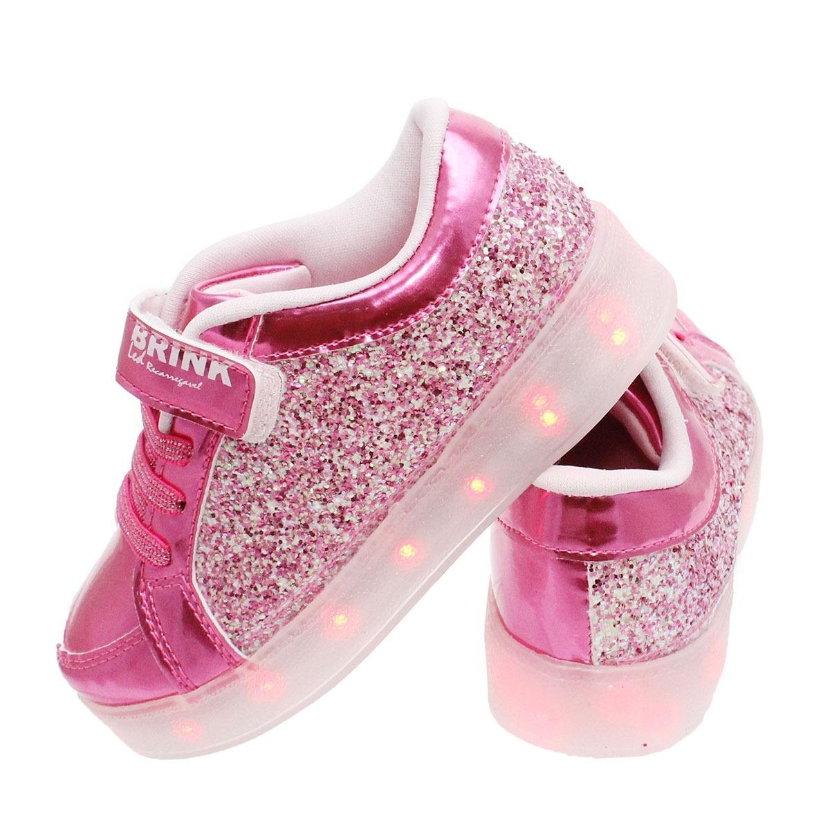 43142246a17d1 tenis led recarregável infantil feminino brink pink gliter. Carregando zoom.