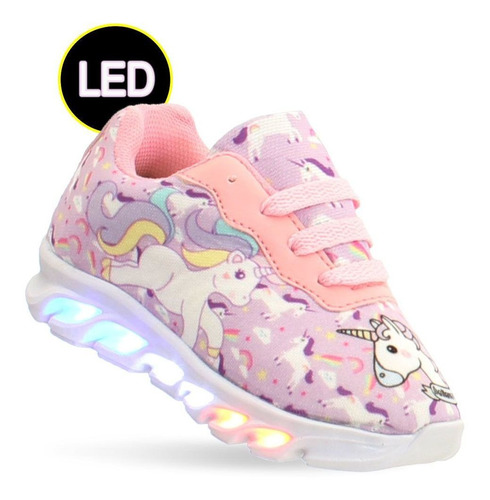 tenis luzes  led unicornio infantil feminino meninas barato