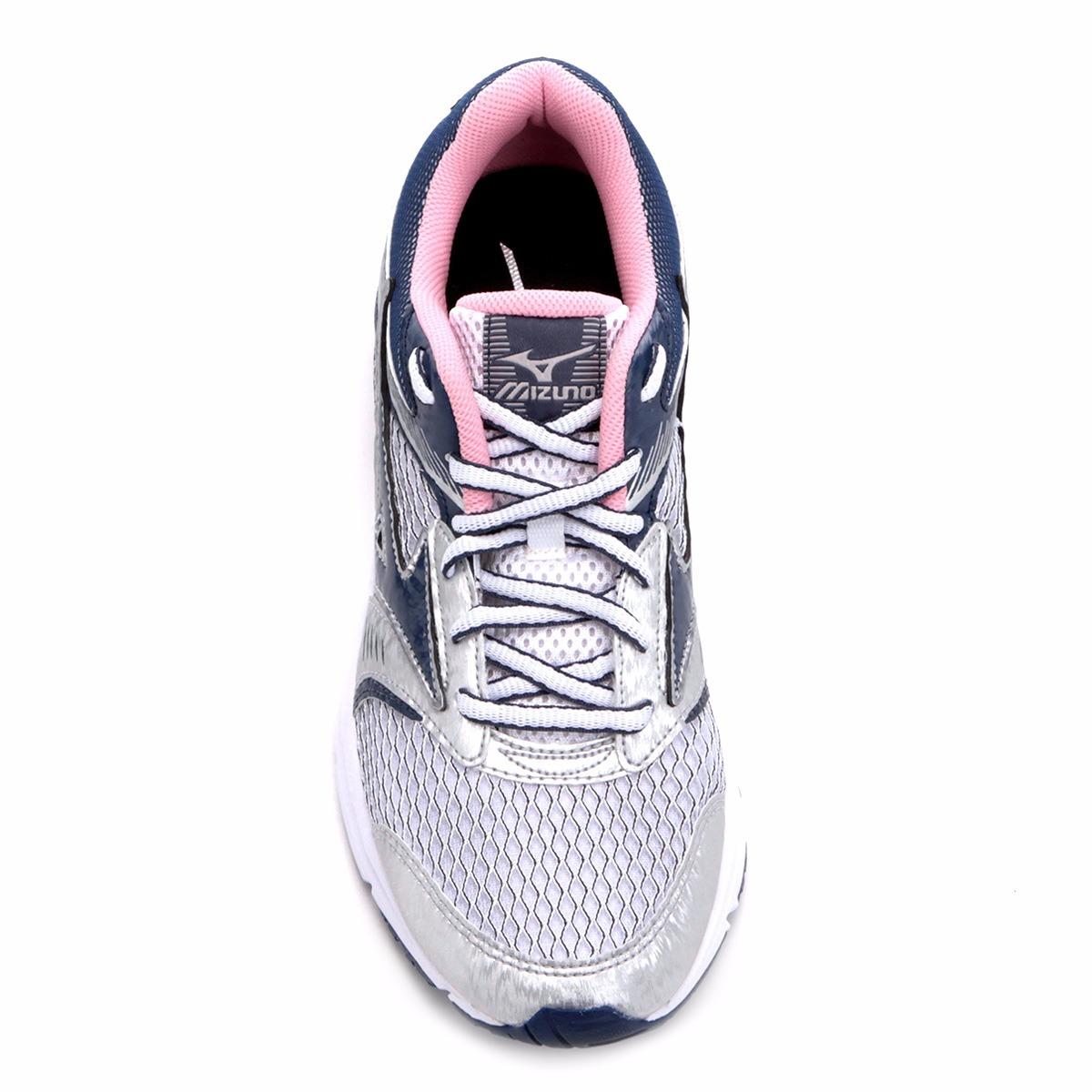 045861eb915 tenis mizuno strike n feminino prata com rosa e azul. Carregando zoom.