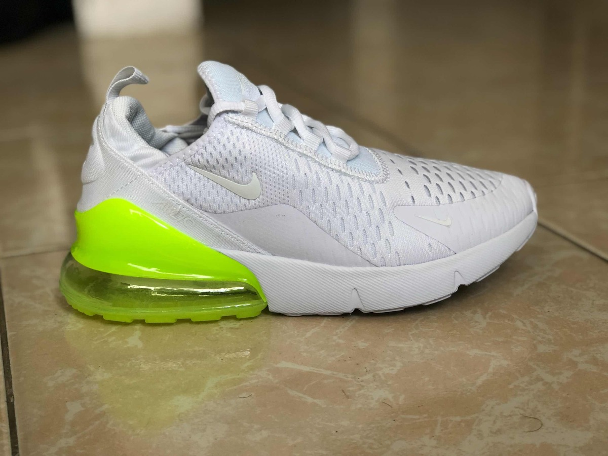 da68acb86f726 tenis modelo nike air max 270 blanco verde fosforescente. Cargando zoom.