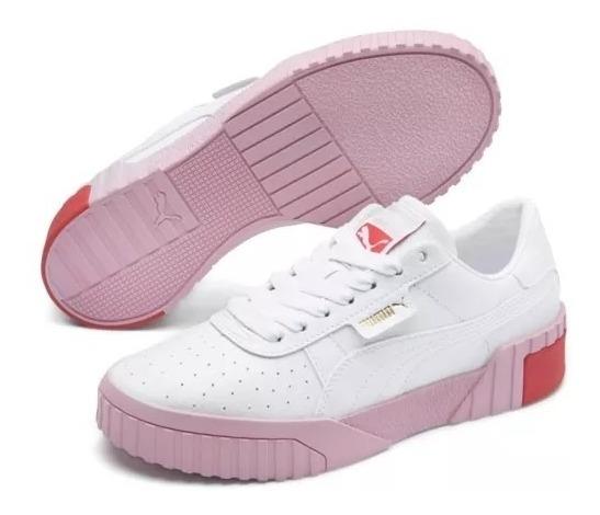 puma cali mujer blanco y rosa