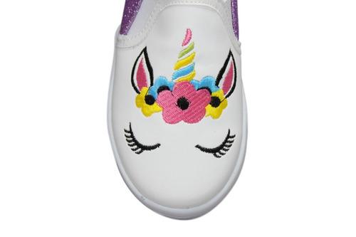 tenis mujer y niña unicornio morado cambian de color 18al 25