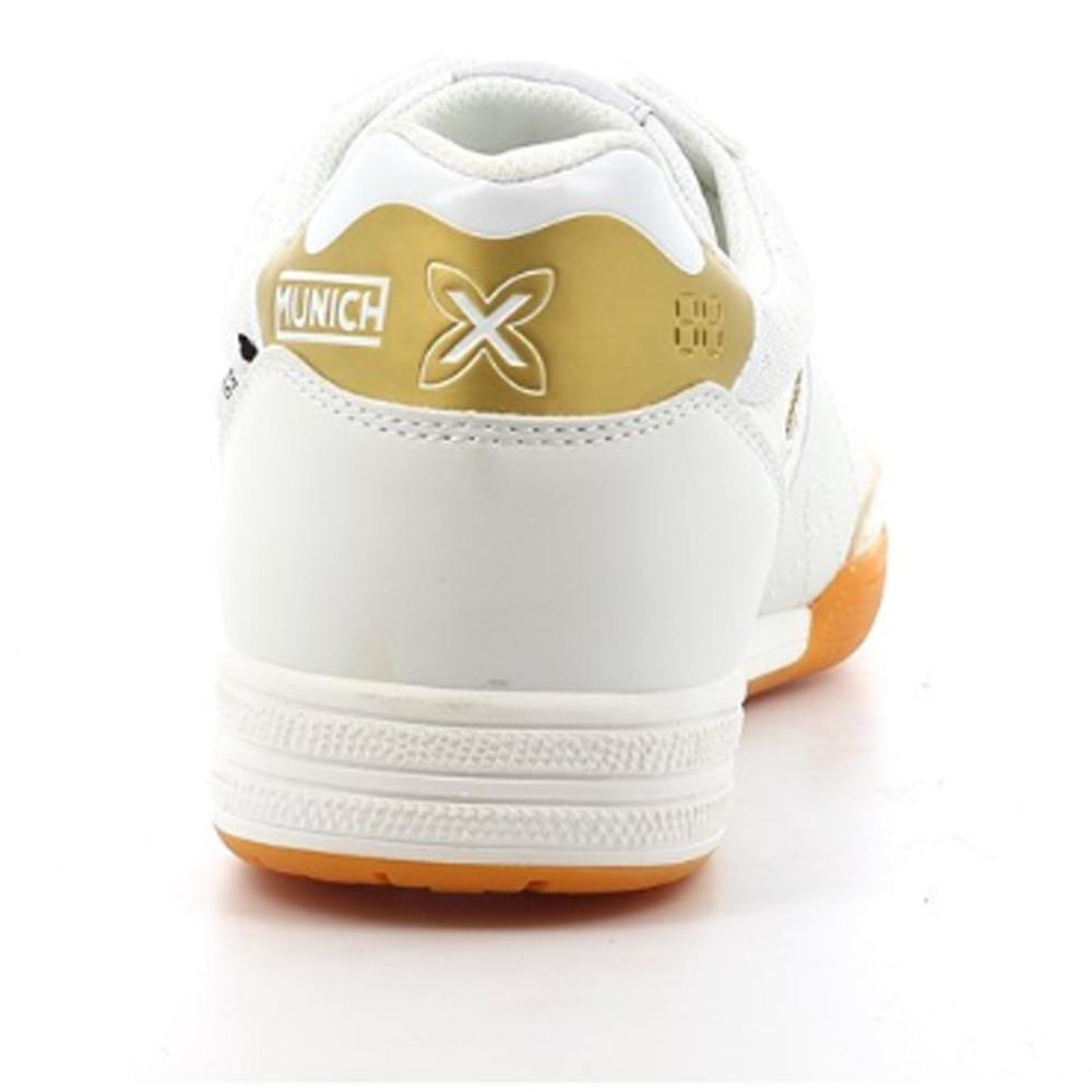 a1b3e14561fee Tenis Munich Futsal G-3 Shine 3110902 Branco Com Dourado - R$ 449,90 ...