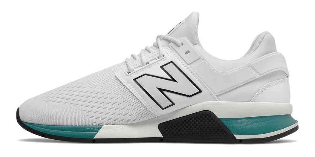 Tenis New Balance 247 Blancos Con Verde Unisex, Zapatillas.