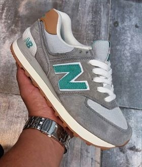 new balance 574 gris y verde