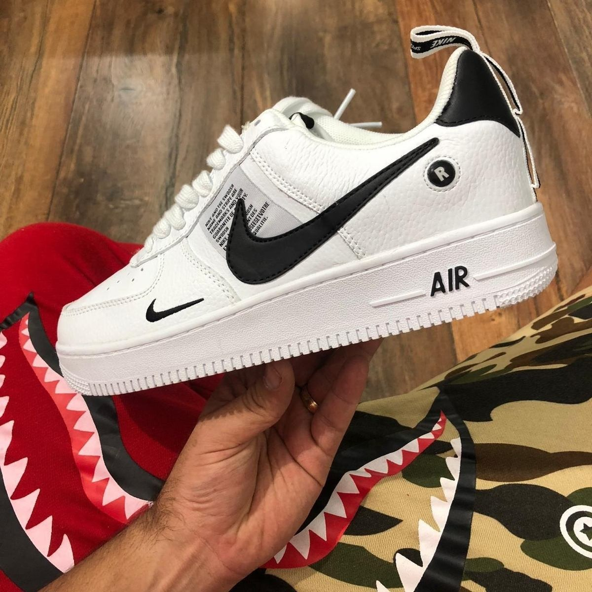 Tenis Nike Air Force 1 Blanco Negro Hombre