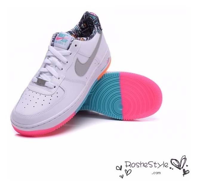 Tenis Nike Air Force One Arco Iris, Suela De Colores For One