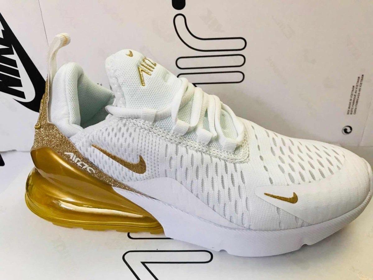 Tenis Nike Air Max 270 Blanco Con Dorado