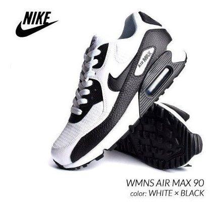 Tenis Nike Air Max 90 Blanco C Negro # 24,24.5 Cm Original