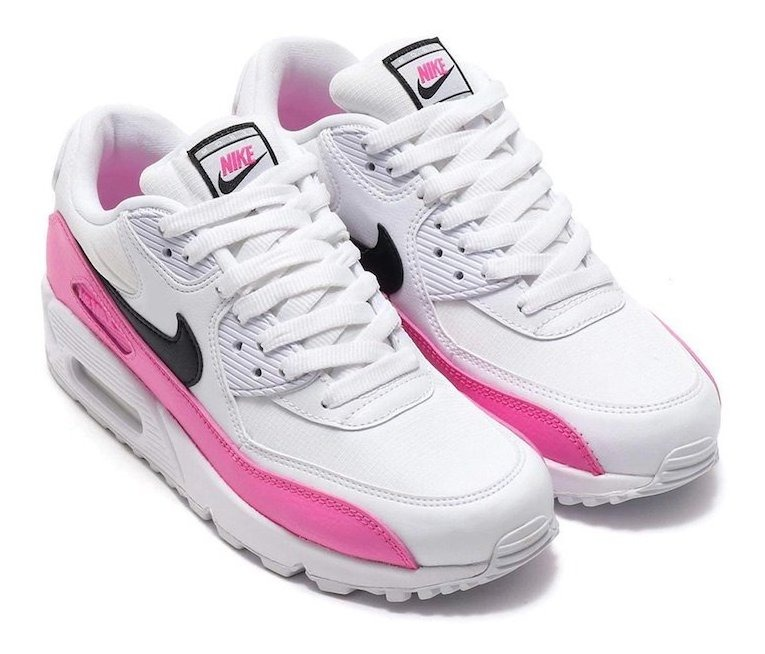 Tenis Nike Air Max 90 Blanco,rosa Paloma Negra,nuevo En Caja
