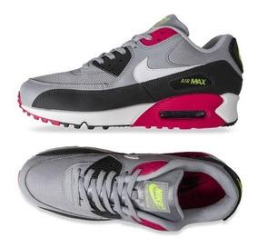 Tenis Nike Air Max 90 Essential Gris, Negro, Rosa # 27 Cm
