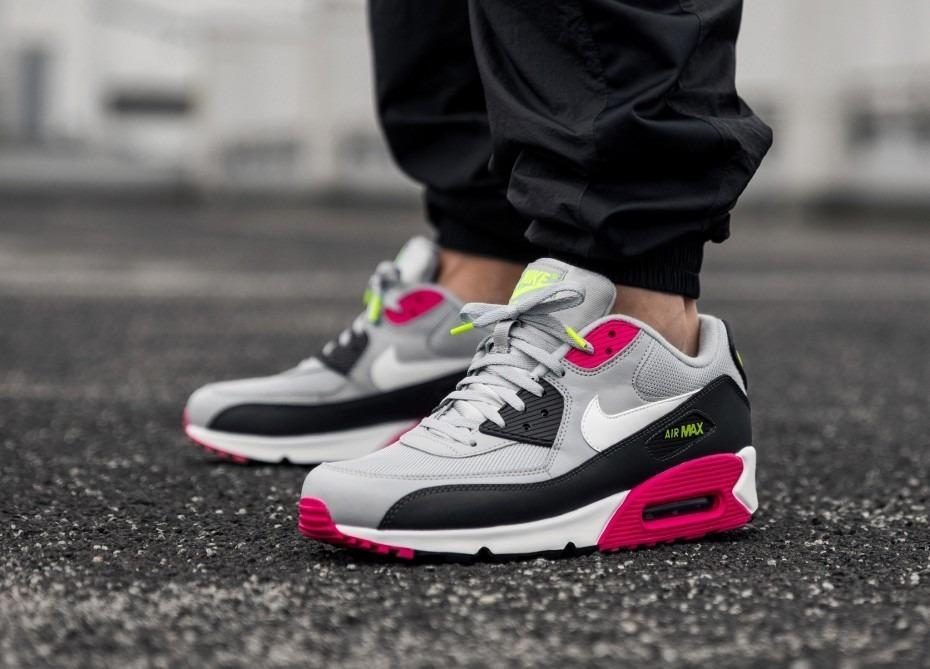 Tenis Nike Air Max 90 Essential Gris, Negro, Rosa #7 Cm. Msi.