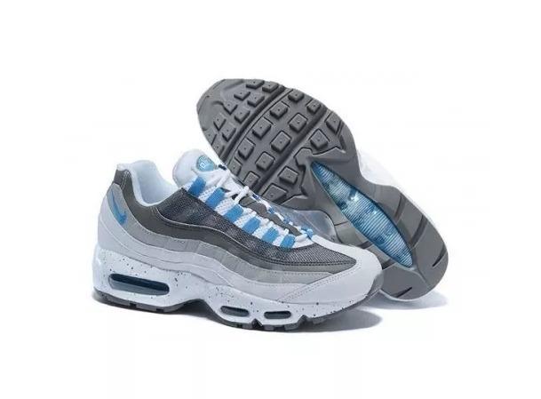 b9d7a69df Tenis Nike Air Max 95 Branco Com Azul Envio Em 24h - R$ 507,00 em ...